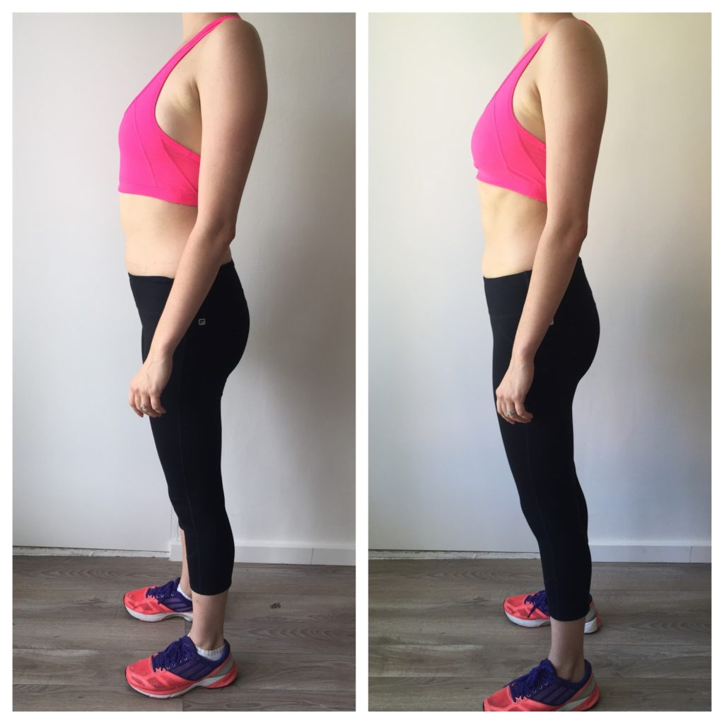 Hot pink sports bra and black yoga leggings