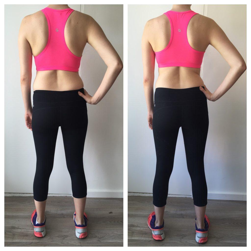 Bikini Cleanse pink sports bra and black yoga pants